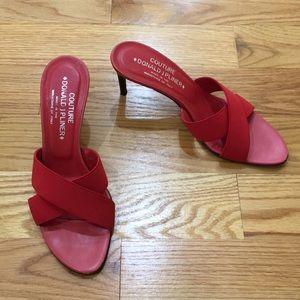 """Red Crisscross Donald J Pliner Sandal 3"""" Heels"""